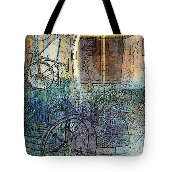 Face In The Window Embossed Montage Tote Bag by Arline Wagner