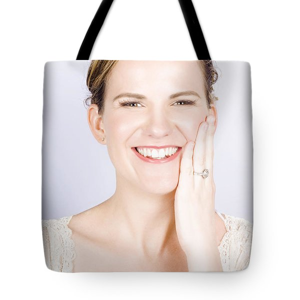 Face Of A Smiling Bride With Perfect Makeup Tote Bag by Jorgo Photography - Wall Art Gallery