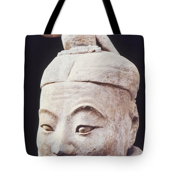 Tote Bag featuring the photograph Face Of A Terracotta Warrior by Heiko Koehrer-Wagner