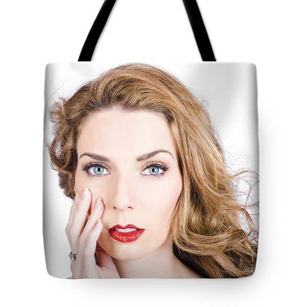 Face Of An Attractive Young Girl. Cosmetic Model Tote Bag