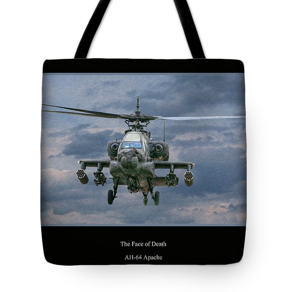 Face Of Death Ah-64 Apache Helicopter Tote Bag by Randy Steele