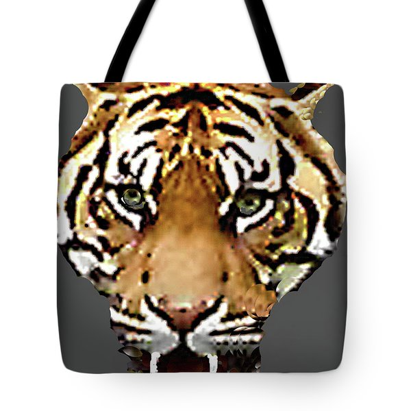 Tote Bag featuring the photograph Face-to-face With A Bengal Tiger  by Merton Allen