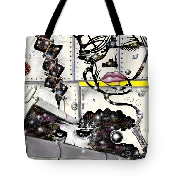 Tote Bag featuring the digital art Faces In Space by Darren Cannell