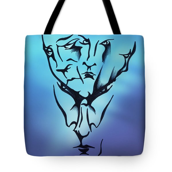 Tote Bag featuring the drawing Faces by Keith A Link