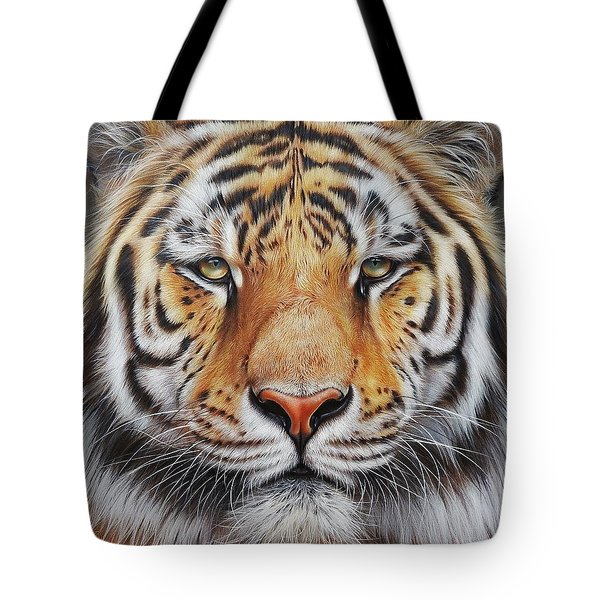 Faces Of The Wild - Amur Tiger Tote Bag by Elena Kolotusha