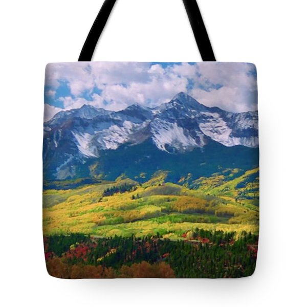 Facinating American Landscape Flowers Greens Snow Mountain Clouded Blue Sky  Tote Bag