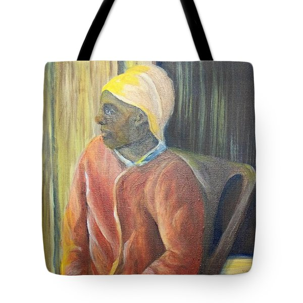 Tote Bag featuring the painting Facing Freedom by Saundra Johnson