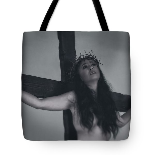 Faded Portrait Of A Female Jesus Tote Bag