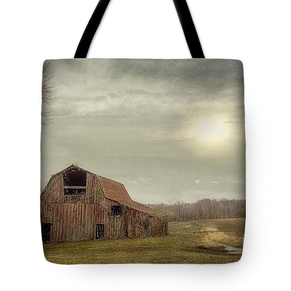 Faded Red Barn Tote Bag
