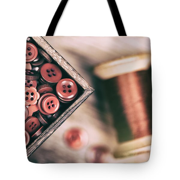 Faded Retro Styled Red Buttons And Thread Tote Bag