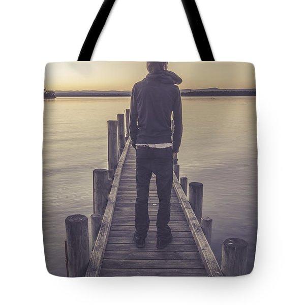 Faded Winter Pier Portrait Tote Bag