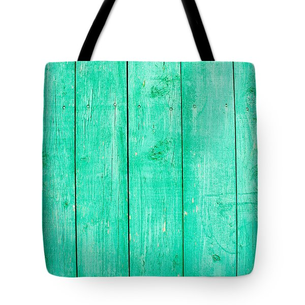 Fading Aqua Paint On Wood Tote Bag by John Williams