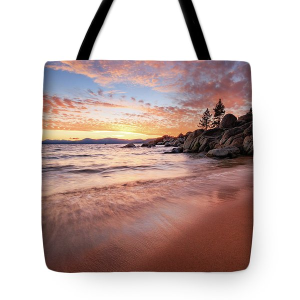 Fading Sunset Waves At Sand Harbor Tote Bag