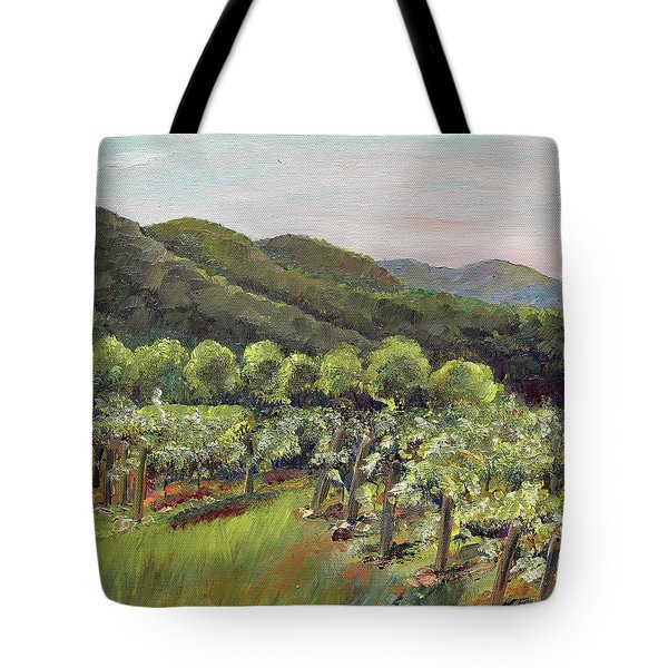 Tote Bag featuring the painting Fainting Goat Valley - Vineyards -  Jasper, Ga by Jan Dappen