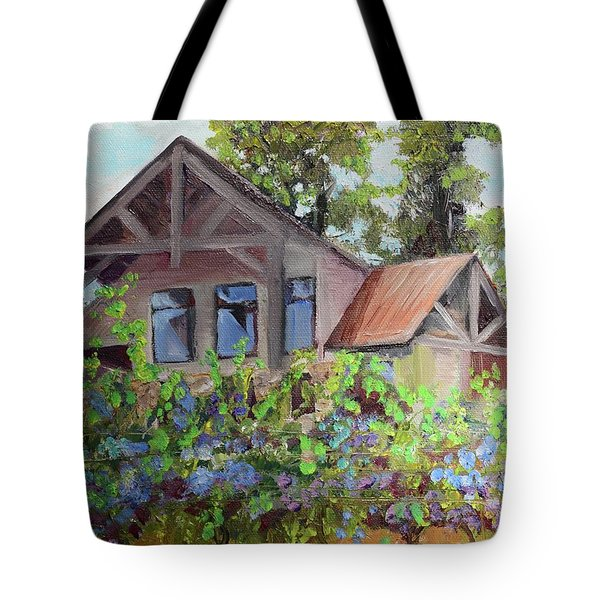 Tote Bag featuring the painting Fainting Goat Vineyard Through The Vines by Jan Dappen