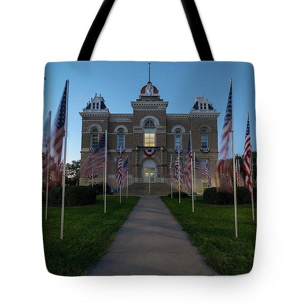 Fairbury Nebraska Avenue Of Flags - September 11 2016 Tote Bag by Art Whitton