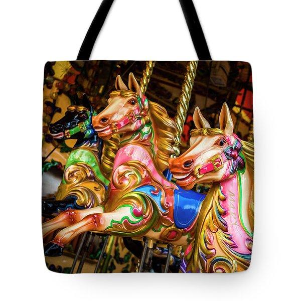 Fairground Carousel Horses Tote Bag
