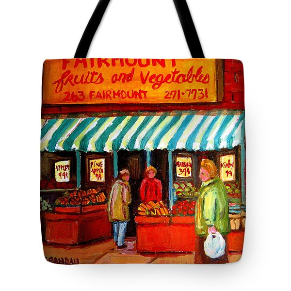 Fairmount Fruit And Vegetables Tote Bag by Carole Spandau