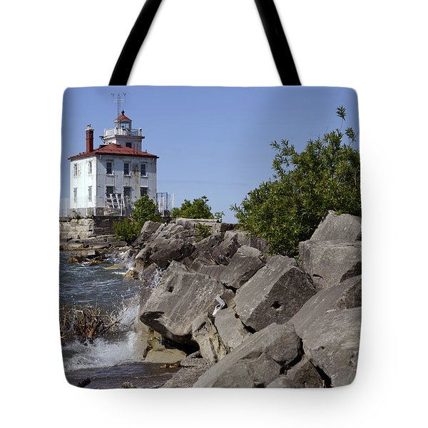Fairport Harbor Lighthouse Tote Bag by Ann Bridges