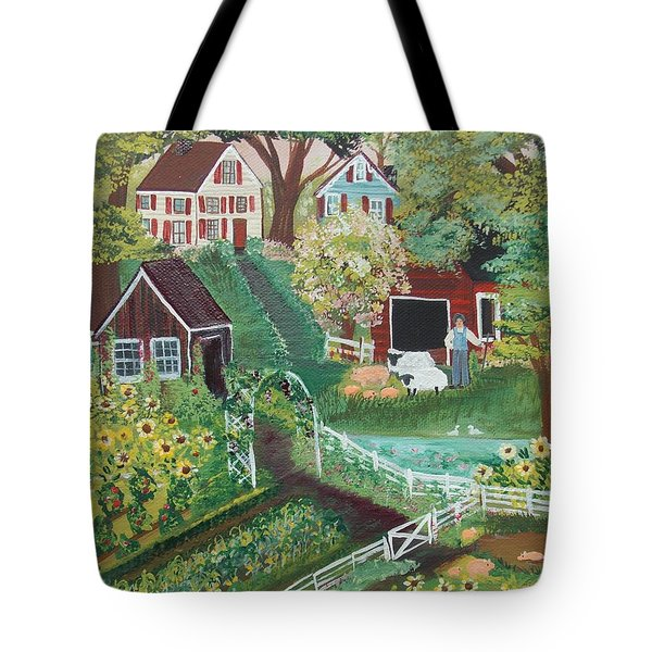 Tote Bag featuring the painting Fairview Farm by Virginia Coyle