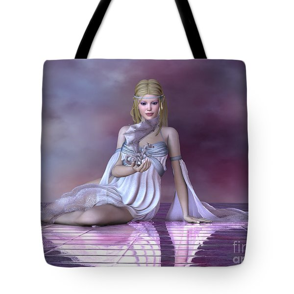Fairy And Ice Dragon Tote Bag by Corey Ford