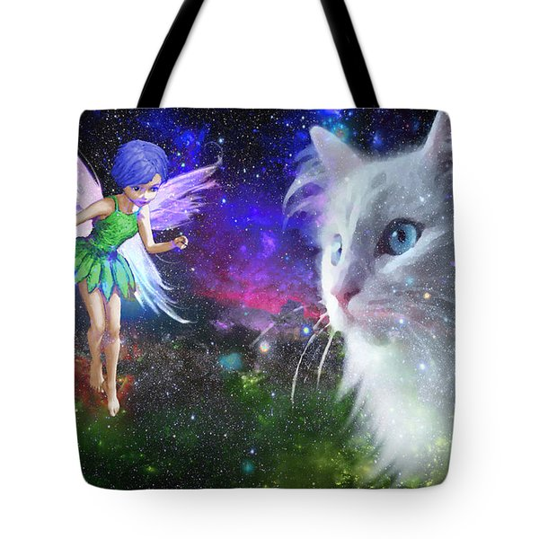 Fairy Encounters Cat  Tote Bag