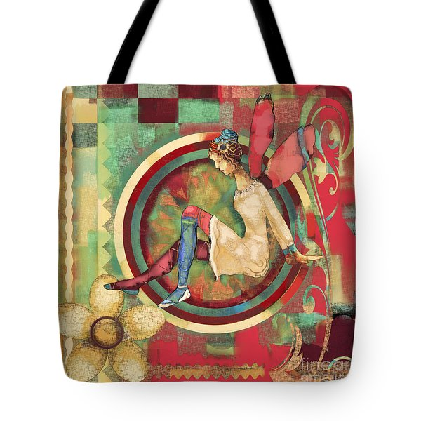 Tote Bag featuring the mixed media Fairy Land One by Carrie Joy Byrnes