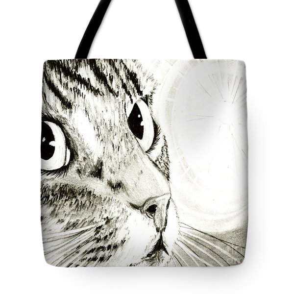 Fairy Light Tabby Cat Drawing Tote Bag