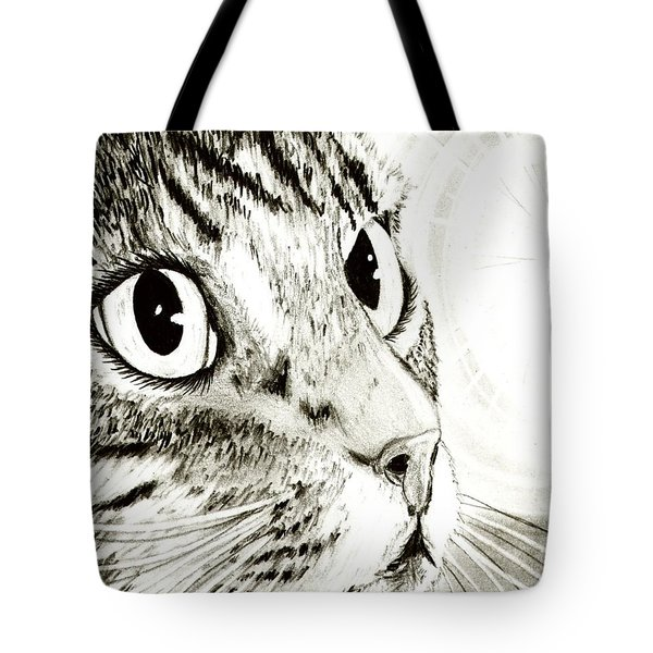 Tote Bag featuring the drawing Fairy Light Tabby Cat Drawing by Carrie Hawks