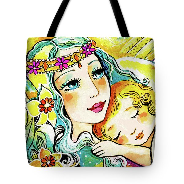Tote Bag featuring the painting Fairy Mother And Angel Child by Eva Campbell