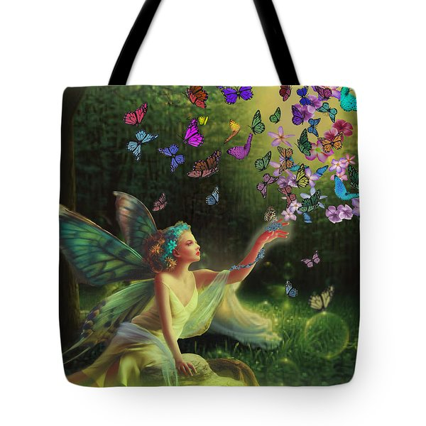 Fairy Of The Butterflies Tote Bag by Edelberto Cabrera