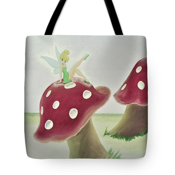 Fairy On Mushroom Trees Tote Bag
