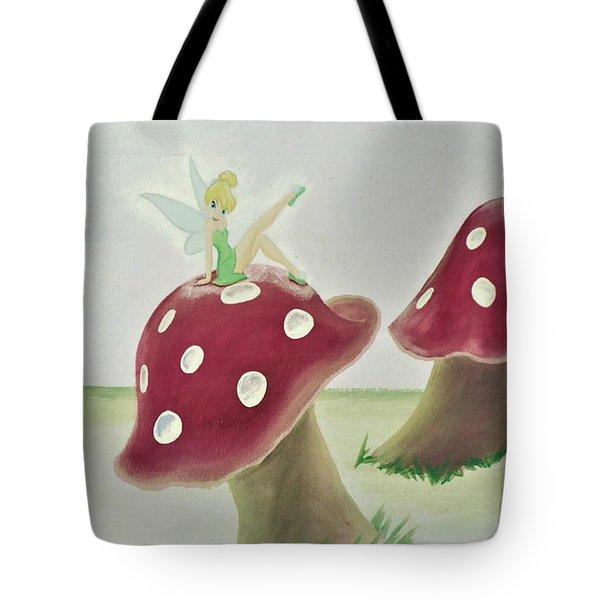 Fairy On Mushroom Trees Tote Bag