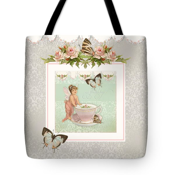 Fairy Teacups - Flutterbye Butterflies And English Rose Damask Tote Bag
