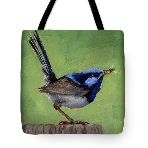 Tote Bag featuring the painting Fairy Wren With Lunch  by Margaret Stockdale