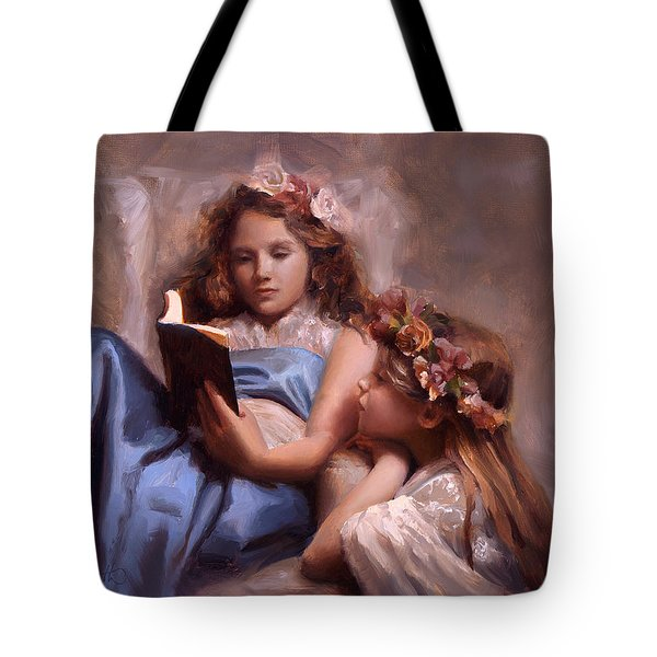 Tote Bag featuring the painting Fairytales And Lace - Portrait Of Girls Reading A Book by Karen Whitworth