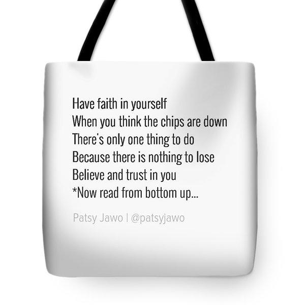 Faith Tote Bag by Patsy Jawo