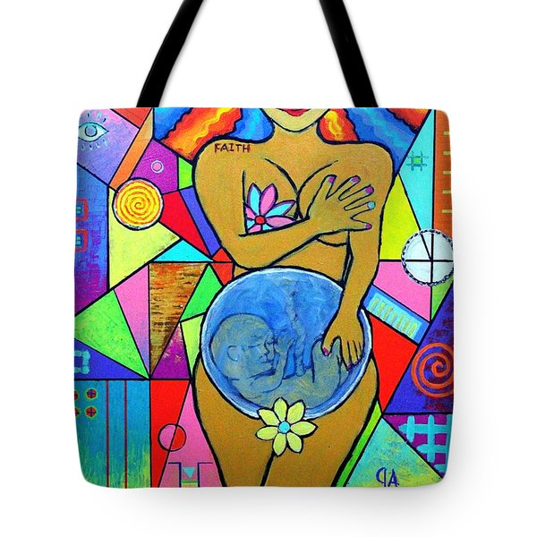 Faith, She Carries The World On Her Hips Tote Bag