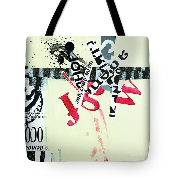 Tote Bag featuring the mixed media Fake News by Elena Nosyreva