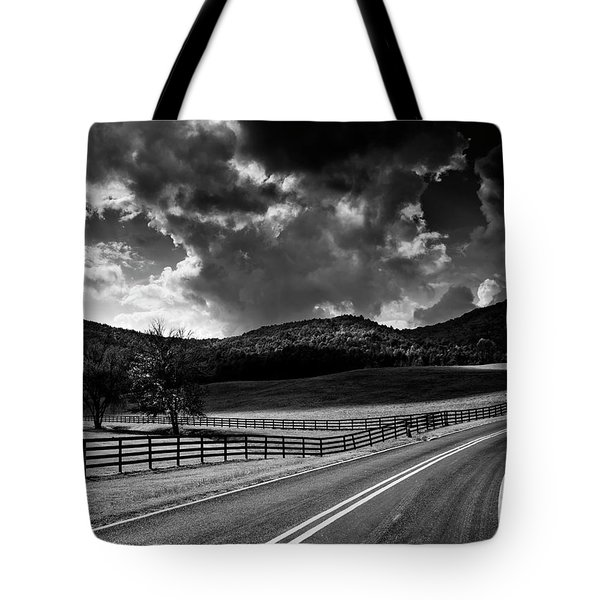 Tote Bag featuring the photograph Fall Along Joe Brown Highway In Black And White by Chrystal Mimbs