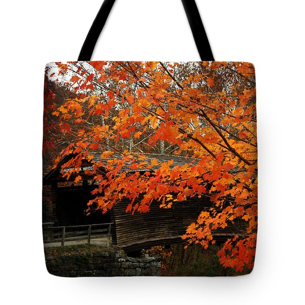 Fall At Humpback Bridge Tote Bag by Cathy Shiflett