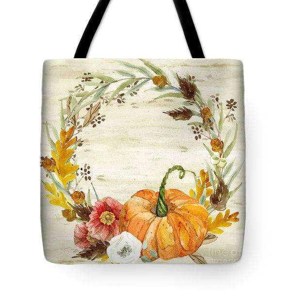 Tote Bag featuring the painting Fall Autumn Harvest Wreath On Birch Bark Watercolor by Audrey Jeanne Roberts