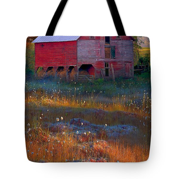 Fall Barn Tote Bag by Ron Jones