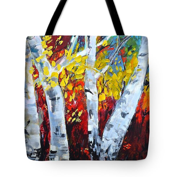Fall Birch Trees Tote Bag