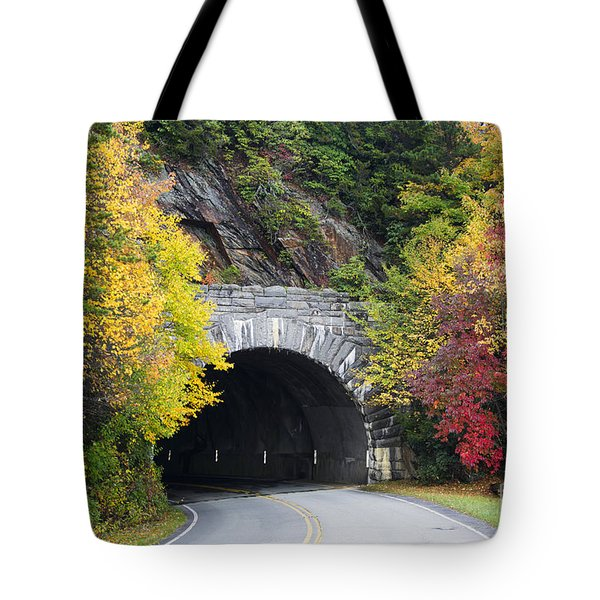 Fall Blue Ridge Parkway @ Rough Ridge Tunnel  Tote Bag by Nature Scapes Fine Art