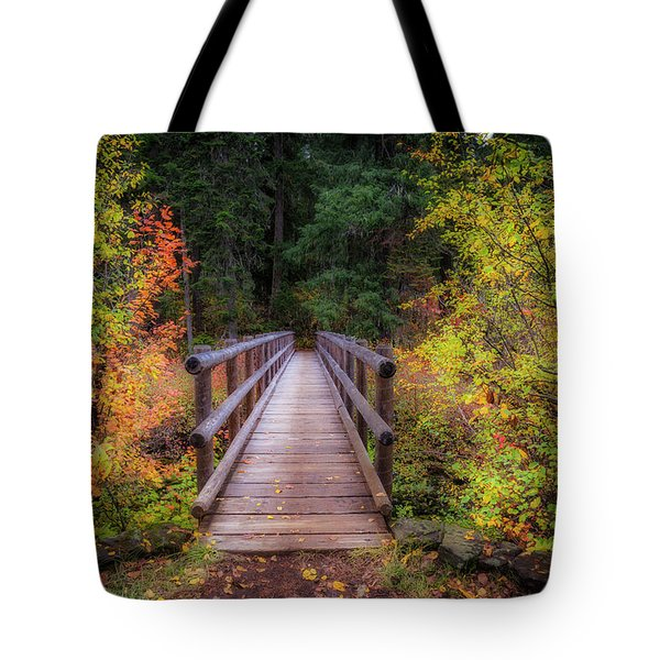 Tote Bag featuring the photograph Fall Bridge by Cat Connor