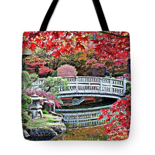 Fall Bridge In Manito Park Tote Bag by Carol Groenen
