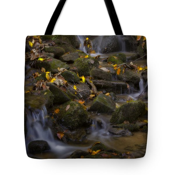 Tote Bag featuring the photograph Fall Cascades by Ellen Heaverlo