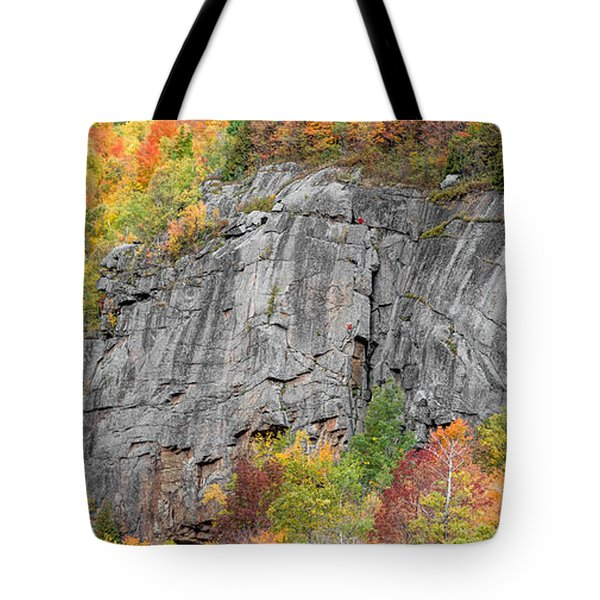 Tote Bag featuring the photograph Fall Climbing by Brad Wenskoski