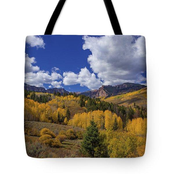 Fall Color Abounds Below The Mill Creek Breccia Cliffs Tote Bag